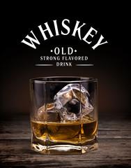 Photo sur Plexiglas Bar Glasses of whiskey on wood background.