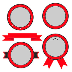 Red  badge and label set with ribbon and stars. Empty templates.
