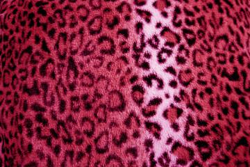 Pink / Cerise leopard animal print fur pattern - fabric