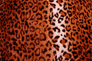 Red leopard print fur pattern - fabric