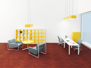 Interior of bright small modern office and lounge place