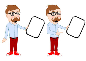 Hipster with presenting tablet