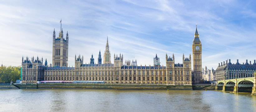 Westminster with Big Ben of London panorama