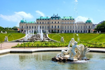 Photo sur Toile Vienne Belvedere Palace, garden and fountains, Vienna, Austria