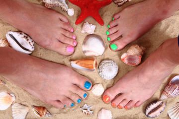 womens legs in the sand and shells
