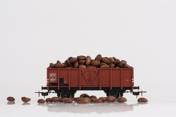 toy rail car with coffee beans