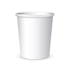White Disposable Paper Cup. Container For Coffee, Java