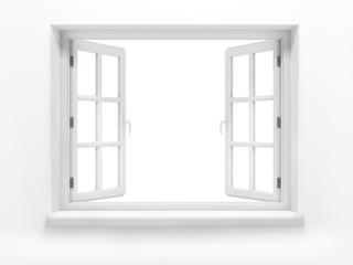 Opened plastic window. 3d render Fototapete