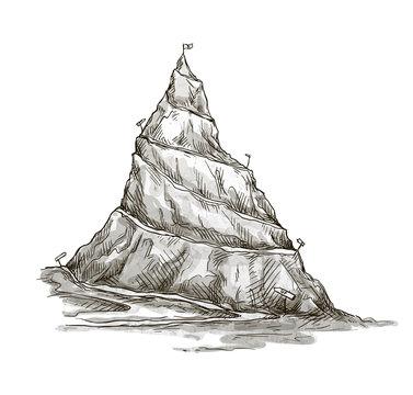 Hand drawn mountain. Mountain peak. serpentine road. Vector.