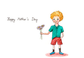 Aquarell kleiner Junge schenkt Blumen zum Muttertag