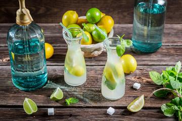 Lemonade made of fresh fruits with mint leaf