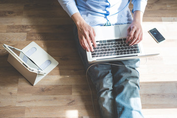 elegant business multitasking multimedia man