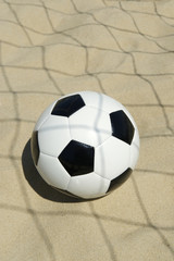Soccer Ball in Football Net Shadows Brazil Beach