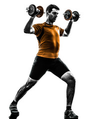 Wall Mural - man exercising weight training silhouette