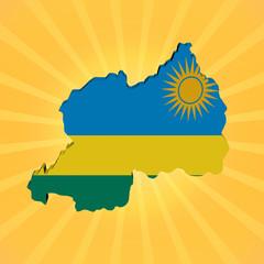 Rwanda map flag on sunburst illustration