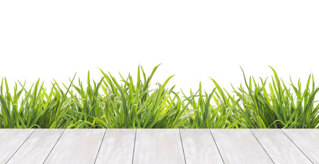 white boards terrace  and green grass ,border,  isolated