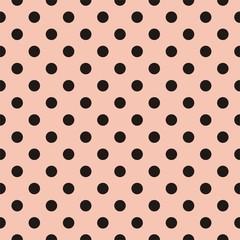 Vector black polka dots pink background or tile pattern - 63884177