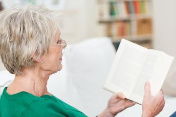 ältere dame sitzt auf dem sofa und liest ein buch