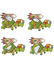Flying Turtle with Rocket