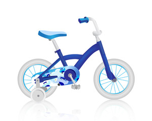 Realistic blue children's bike