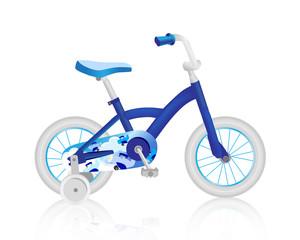 Realistic blue children's bike