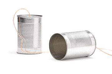 Studio shot of a tin can phone