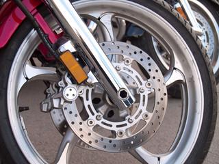 Motorcycle wheel brake background in motorbike, motorcycle wheel