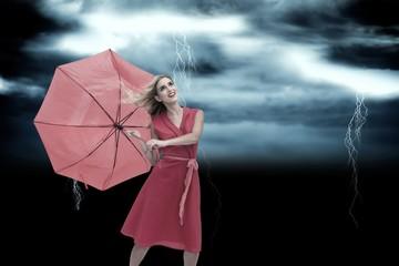 Papiers peints Forets enfants Composite image of elegant blonde holding umbrella