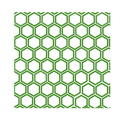 green and white geometric pattern with honeycombs