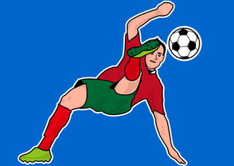 Soccer players bicycle kick silhouette
