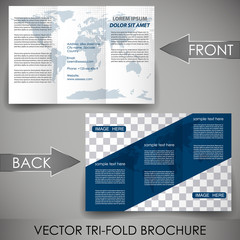 Three fold flyer template, brochure with world map