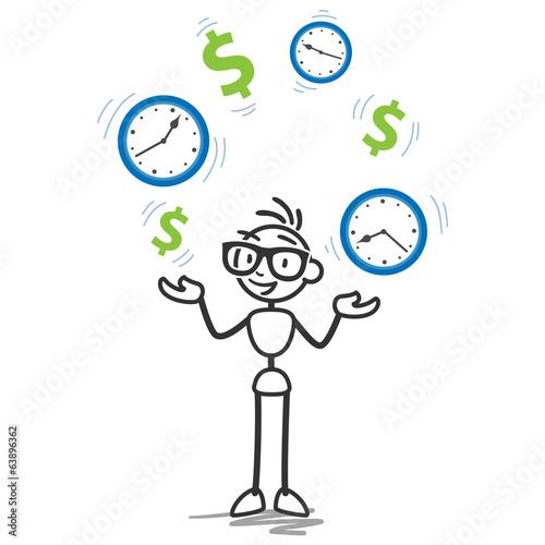 stickman juggling dollar clocks time is money productivity
