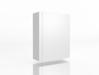 Box in Box schwebend auf weißem Hintergrund