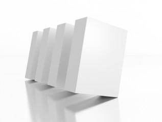 Boxen schräg auf weißem Hintergrund