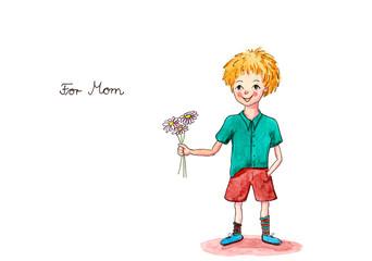 Aquarell kleiner Junge schenkt Blumen für Mama