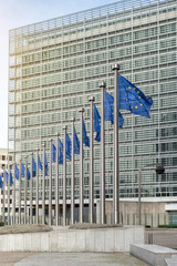 Wall Mural - European Union flags in front of the Berlaymont