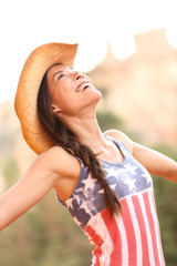 American cowgirl woman free and happy