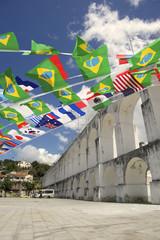 Arcos da Lapa Arches Rio Brazil with International Flags