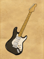 Electric Guitar Painting on Paper