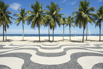 Copacabana Beach Boardwalk Pattern Rio de Janeiro Brazil Fototapete
