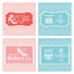 Happy Father's And Mother's Day Template Cards