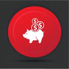 Pig saving button,vector