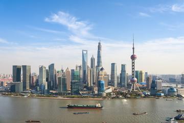 Wall Murals Shanghai shanghai pudong skyline in sunny sky
