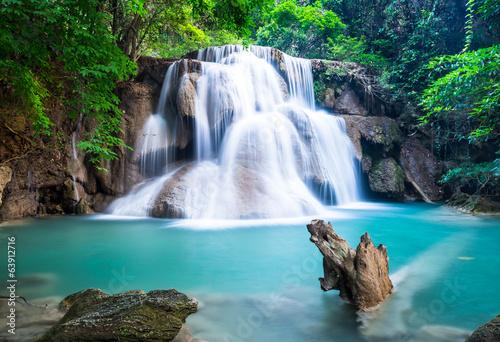Wall mural Huay Mae Kamin Waterfall at Kanchanaburi province, Thailand