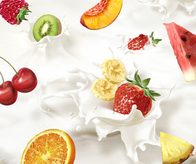 Various fruits falling into a sea of milk, causing  splashes.
