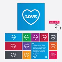 Heart sign icon. Love symbol.