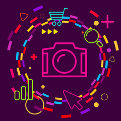 Photo camera on abstract colorful geometric dark background with