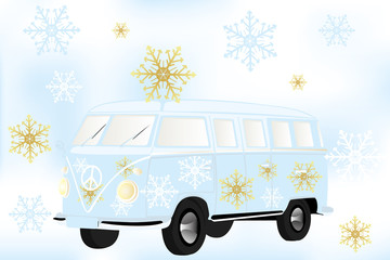Retro van with white and golden snow flakes - Stock Illustration