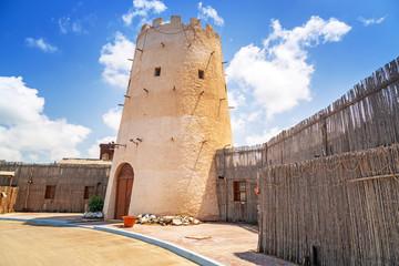 Old tower in the Abu Dhabi marina, United Arab Emirates