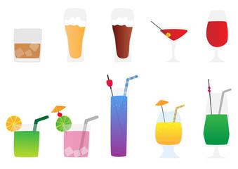 alcoholic beverages vector set